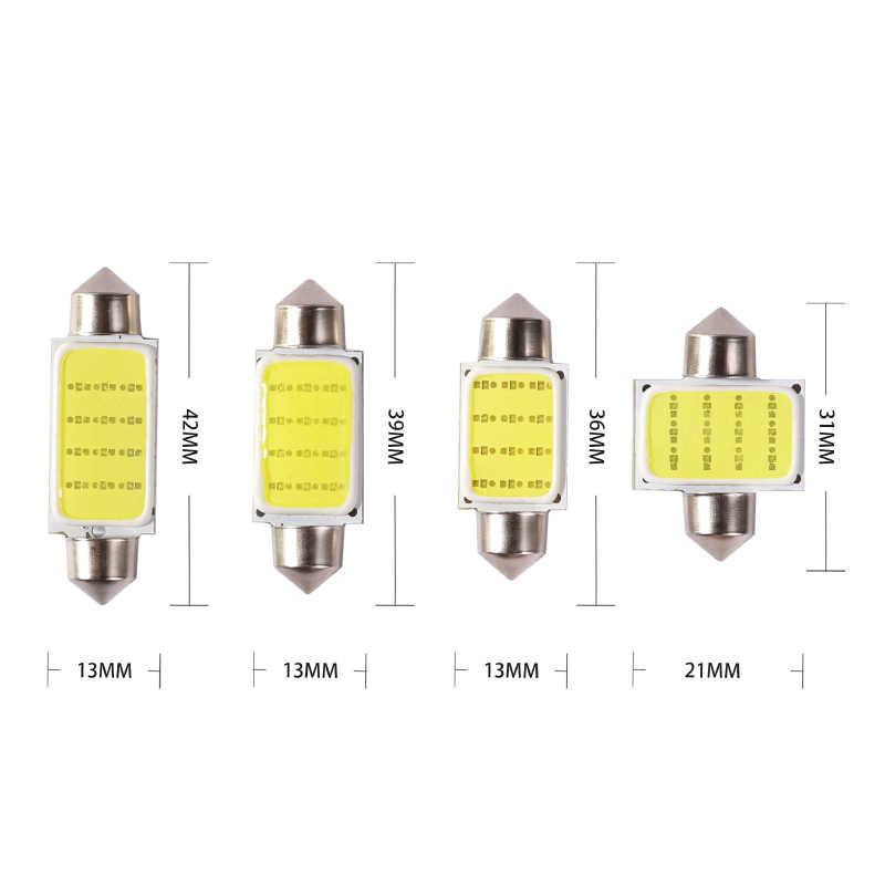 100X12 V/24 V dôme Festoon lumière 31mm 36mm 39mm 42mm C5W voiture Led COB 12 puce Auto super lumineux COB Festoon dôme lumière intérieure