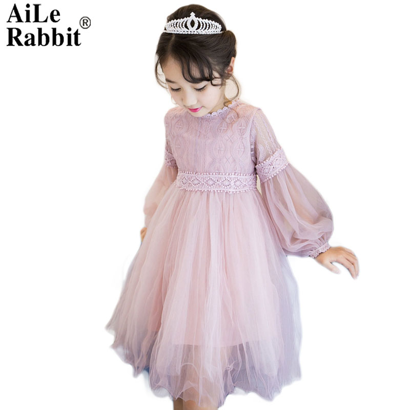 AiLe Rabbit New Dresses For Girls Cute Lace Solid Long Lantern Sleeve Children Dress O-Neck Ball Grown Party Princess Baby k1 attractive plunging neck solid color long sleeve bodycon dress for women