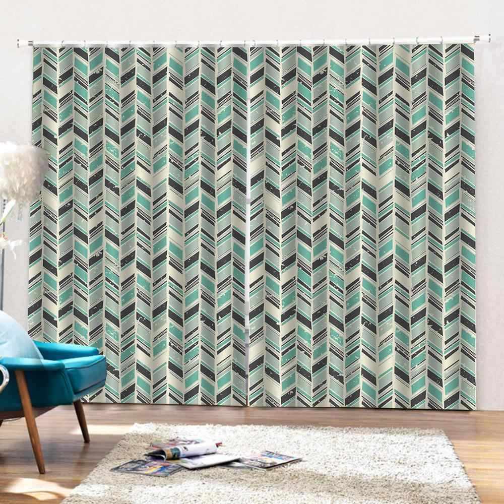 3D Curtain Luxury Blackout Window Curtain Living Room green pattern curtains for bedroom Blackout curtain