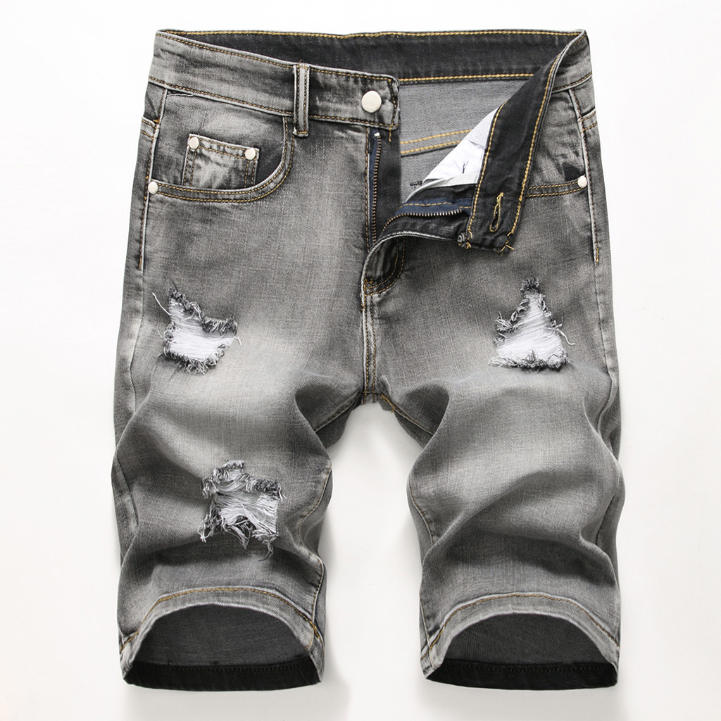 Summer denim   shorts   male jeans men jean   shorts   Five-cent Jeans for Straight Cylinder Locomotive with Holes in Stuart Jeans Z417