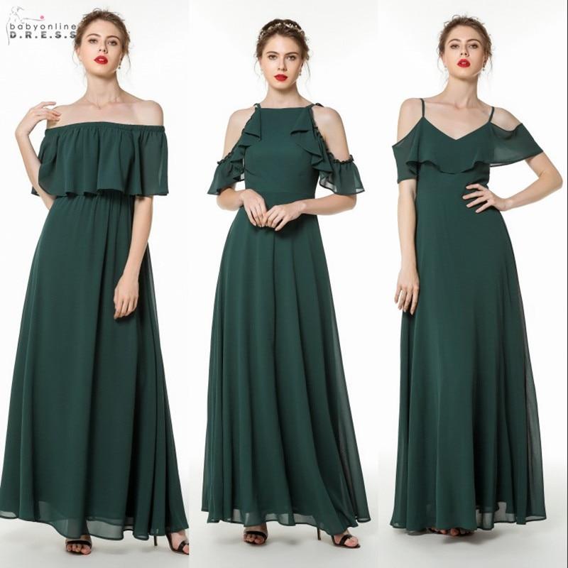 Sexy Open Back Green Chiffon Long   Evening     Dress   Elegant Spaghetti Strap   Evening   Gowns with Ruffles Robe de Soiree Longue