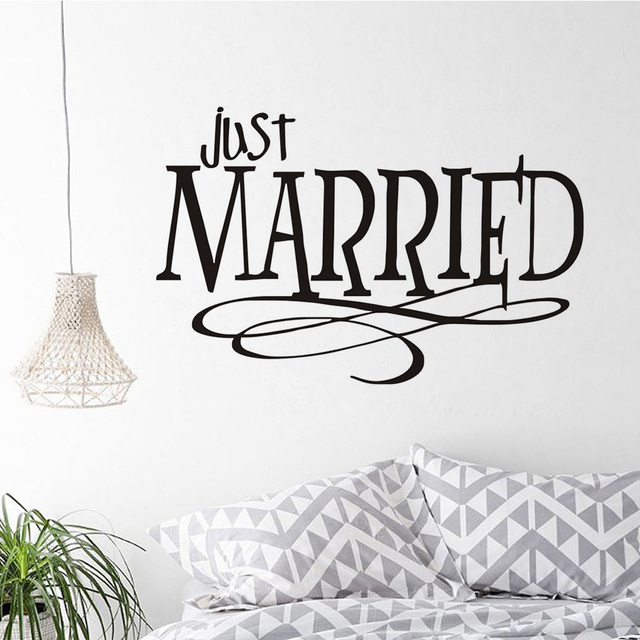 Removable Just Married Creative Design Wall Sticker Pvc Waterproof Awesome Just Married Quotes