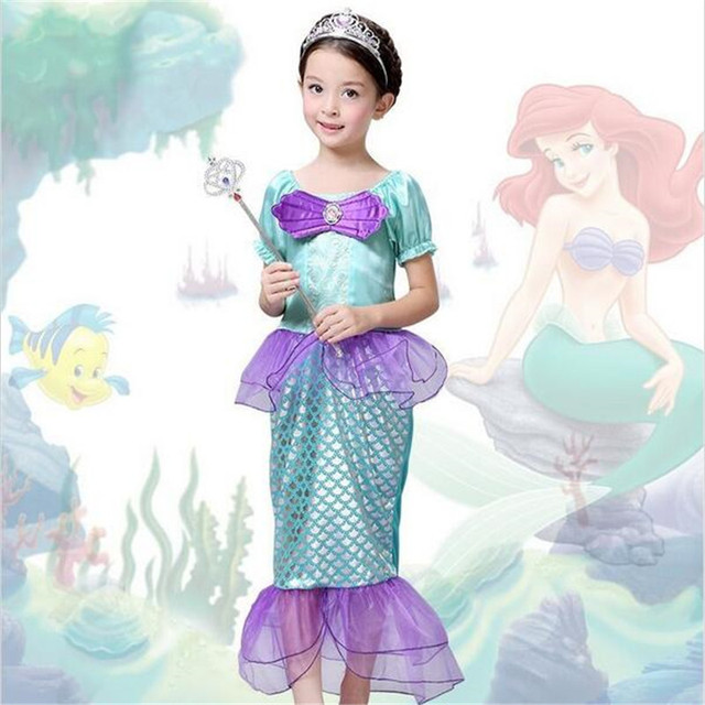 Летние Дети Русалка Косплей Dress Русалочка Дети Девочки Dress Принцесса Косплей CS30842