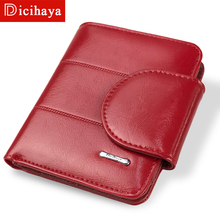 ФОТО dicihaya red billfold coin pocket genuine leather women short wallets high quality girl small purse female carteras carteira