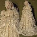 2017 dress de los bebés del cordón del traje de bautizo bautismo vestido con el capo blanco marfil Por Encargo Tamaño 3 6 9 12 15 18 24 meses