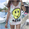 Long Style Women Stage Tops Smiling Face Long Tanks Sequined Sexy Girl Hip Hop Clothing Costumes