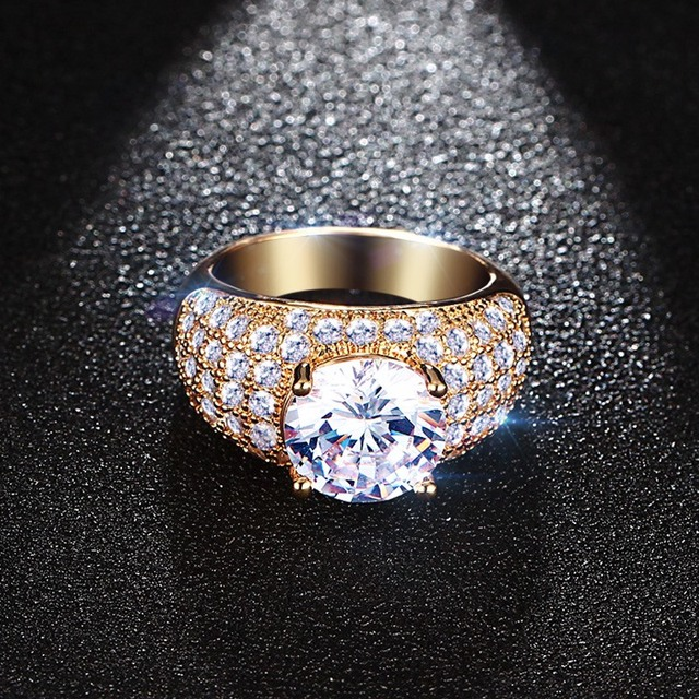 Meaeguet Vintage Simulated Diamond Rings For Women Wedding Jewelry Gold-Color Big Round Finger Ring