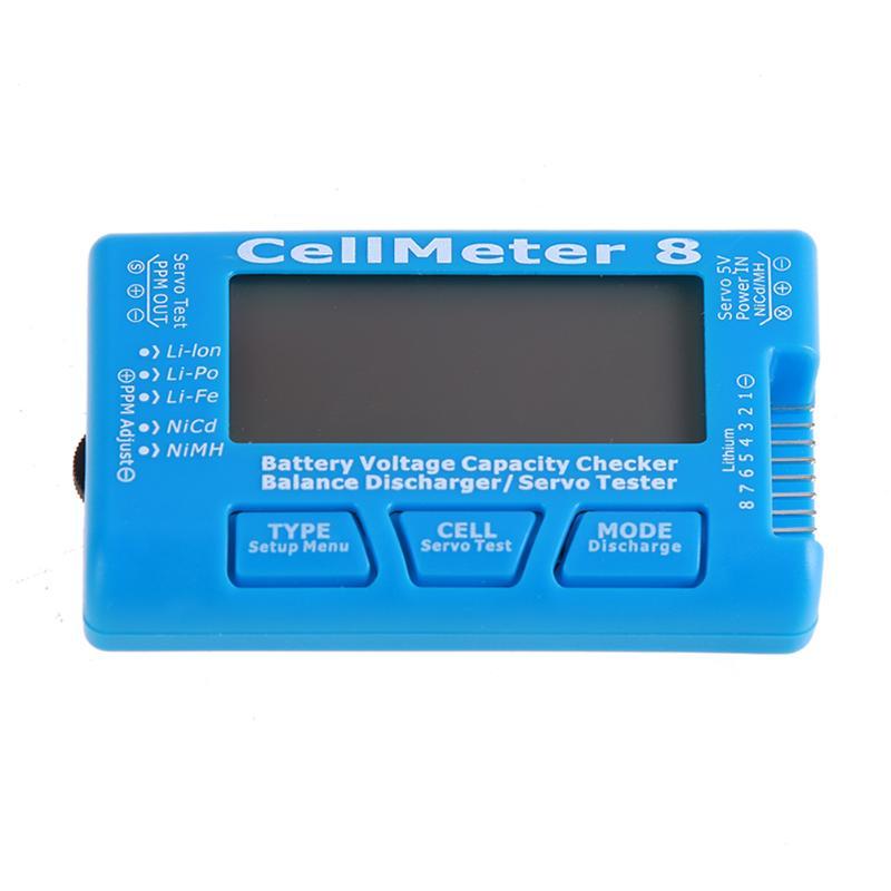 Digital Battery Capacity Checker CellMeter 8 Servo Tester with LED Backlight for Li-Po/Li-lon/Li-Fe(2-8S),NiCd/NiMH(4-8S) batter f01974 digital battery capacity checker cell meter for nicd nimh li po life li lon akku cellmeter 7