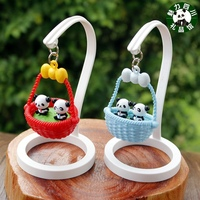 The 10 pieces of plastic basket panda small ornaments table decoration gift Sichuan tourist souvenirs in Chengdu