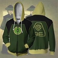 Sweatshirts Men and Women Zipper Hoodies Anime Avatar 3d Print Hooded Jacket for Boys Green Harajuku Streetwear Cosplay Hoodie