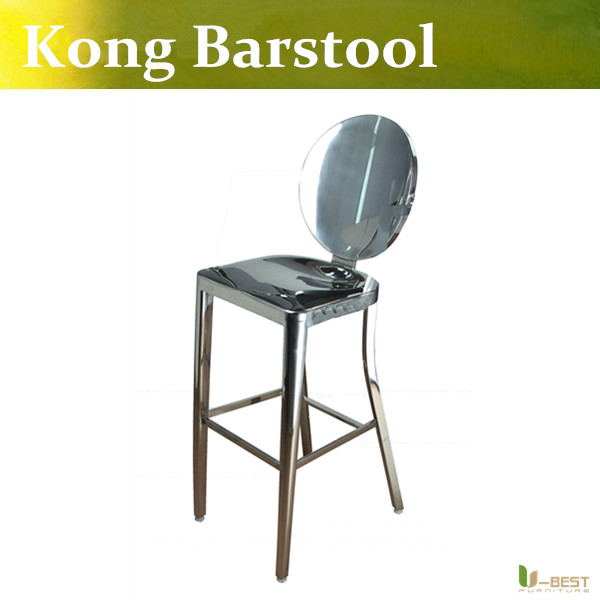 Free shipping U-BEST designer Philippe Starck Kong Barstool with no arms made in 100% stainless steel,Emeco Kong  High Chair parrot zik 2 0 by philippe starck yellow