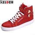 Keloch Высокое Качество Моды для Мужчин Мужской Обуви Звезда Украшения Высокого Верха Обуви Удобные Плоские Пятки Обуви Липучки Zapatillas Homber