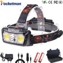 ที่มีประสิทธิภาพ LED ไฟหน้า T6 + COB LED ไฟหน้าไฟฉายไฟฉาย Lanterna หัว Light ใช้แบตเตอรี่ 2*18650 สำหรับ CAMPING