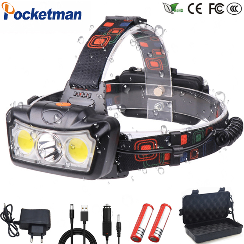 30000LM LED Headlamp T6+COB Headlight Head Lamp Flashlight Torch Lanterna head light Use 2*18650 battery for Camping