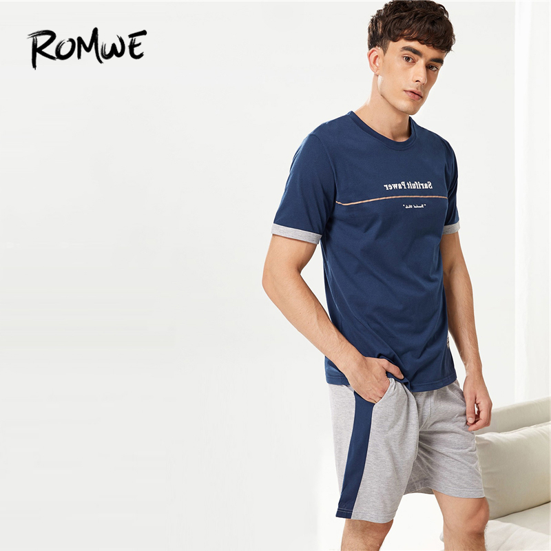 ROMWE Men Contrast Binding Letter Print Pajama Set Round Neck Short Sleeve Shirts And Pants Comfortable Summer Men Nightwear