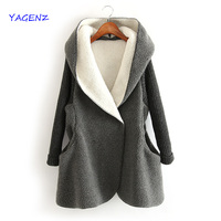 Women Coats 2019 New Hooded Autumn Winter Jacket Ladies Fashion Vintage Long Sleeve Soft Warm Solid Outerwear Cardigan YAGENZA25