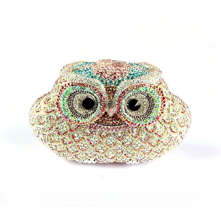 2016 High Quality Hand Bags for Women Owl Rhinestone Crystal Clutch Fashion Designer Evening Bags Cute Owl Purses for Bride powertouch