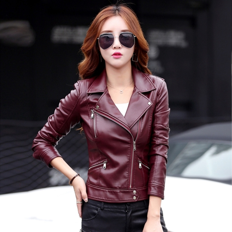 leather   jacket women short design motorcycle   leather   jackets slim 2018 ladies black wine red   leather   jackets 6602