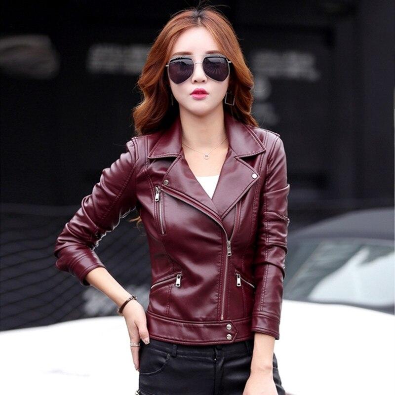 Veste en cuir femmes court design moto en cuir vestes slim 2018 dames noir vin rouge en cuir vestes 6602