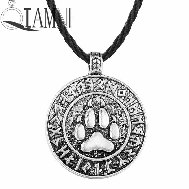 QIAMNIโบราณเงินพังก์Velesแสตมป์สลาฟนกมังกรอาทิตย์หมีหมาป่ารอบC Harmจี้คอของขวัญคริสต์มาสผู้ชายผู้หญิง