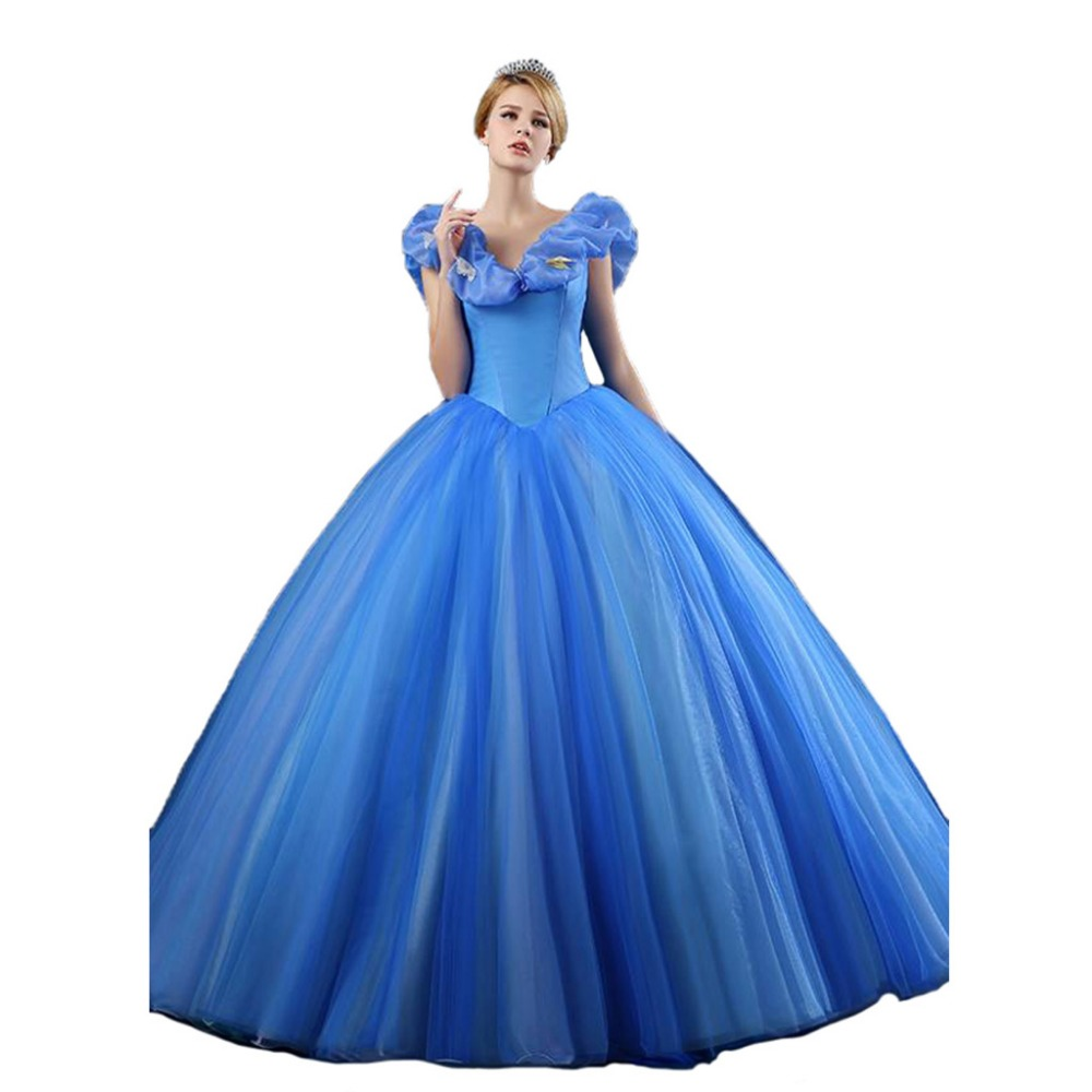 Puffy 2017 Long Pageant Cinderella Prom Dress Ball Gowns