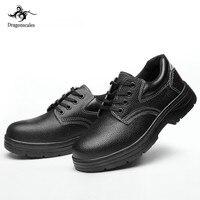DRAGONSCALES Hommes Chaussures De Sécurité anti-odeur mâle Bottes de travail en acier embout couvrant résistant à l'usure peau de vache d'huile