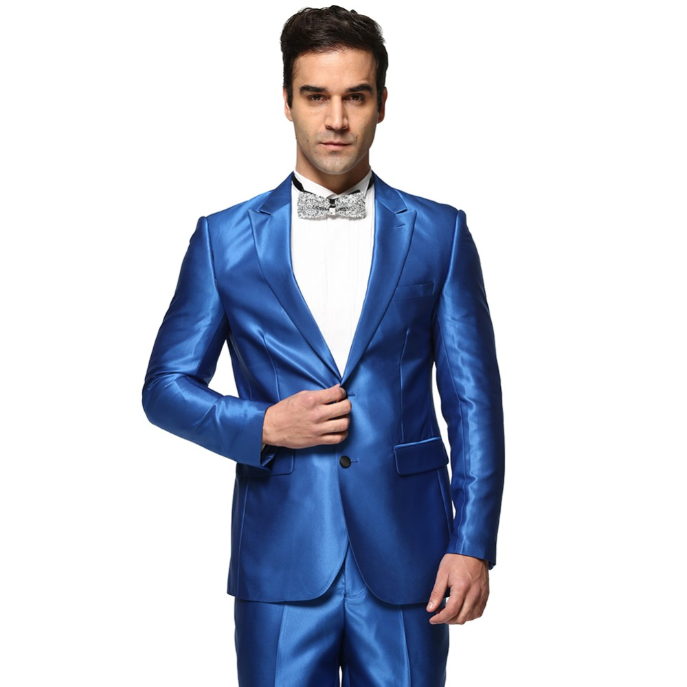 Mens Shiny Blue Suit - Hardon Clothes