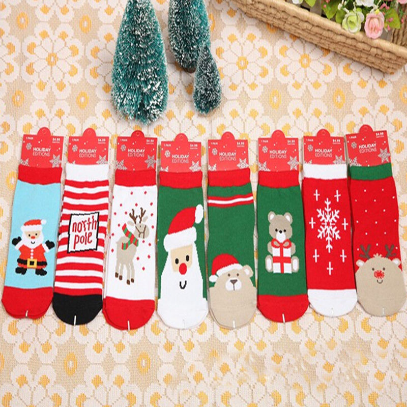 Winter Autumn Newborn Baby Boys Girls Cotton Socks Infant Toddler Kids Christmas Soft Stocking Short Sock