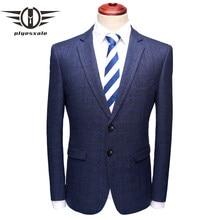 Plyesxale Casual Blazer hombres 2018 nueva primavera otoño ropa Slim Fit Hombre  chaqueta a cuadros azul chaqueta Formal de negoc. ac547330abb
