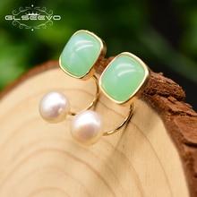 GLSEEVO Fresh Water Pearl Green Colored Glass Stud Earrings
