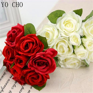 YO CHO Silk Artificial Rose Flowers Bunch Mini Red Rose White Peony Wedding Bridal Home Party Christmas Decorations Fake Flowers