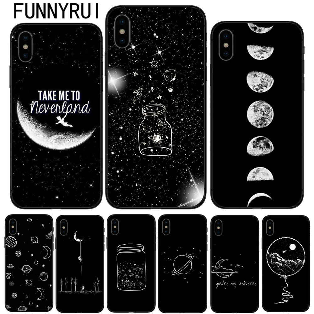 Black With White Moon Stars Space Astronaut Soft silicone Phone Cover Case For iPhone 5 5S SE 6 6S Plus 7 7Plus 8 8Plus X 10