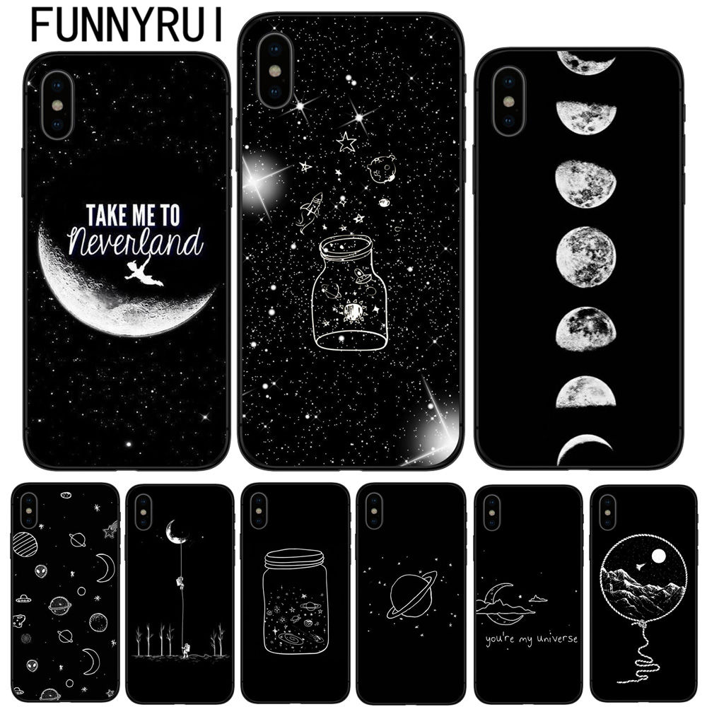 Honest Sky Space Planet Black And White Sun Moon Stars Tpu Soft Silicone Cover Case For Iphone 6 6s Plus 7 Xr Xs Max8 8plus X 5 5s Se Street Price Half-wrapped Case