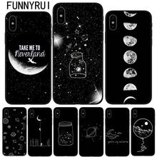 Black With White Moon Stars Space Astronaut Soft silicone Phone Cover Case For iPhone 5 5S SE 6 6S Plus 7 7Plus 8 8Plus X 10(China)