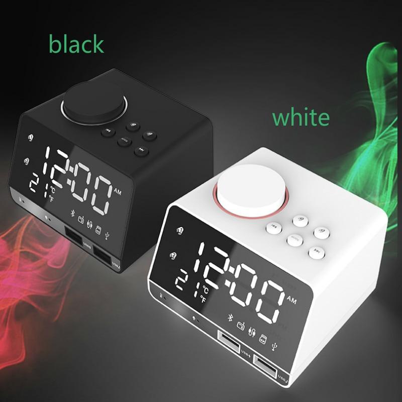 Plastique Bluetooth haut-parleur réveil horloge électronique USB téléphone charge U disque TF jouer Radio stéréo Subwoofer