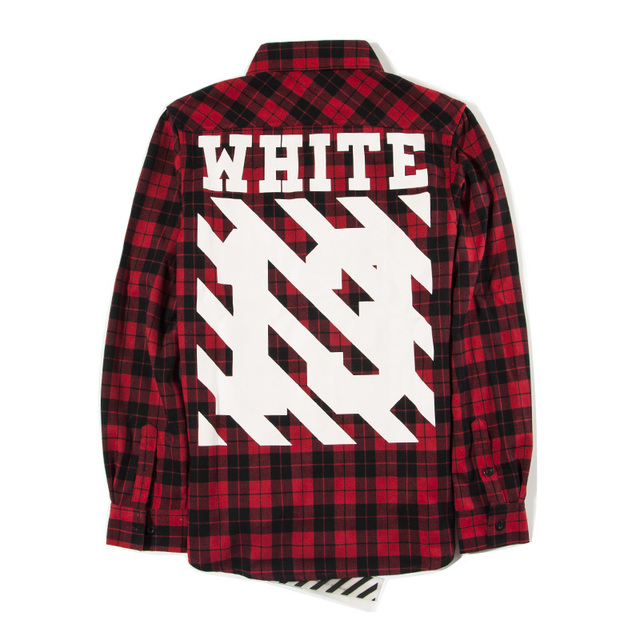 6c37ed421f5e Top Quality Off White C O Virgil Abloh Stripe Print Shirt Pyrex Vision  Kanye West Men s 13 Plaid Flannel Long Sleeve Red Shirts