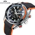 Мужские автоматические механические холщовые резиновые часы James Bond 007 стильные оранжевые синие многофункциональные спортивные часы с дато...