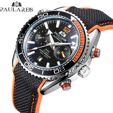 Men Automatic Self Wind Mechanical Canvas Rubber James Bond 007 Style Orange Blue Multifunction Date