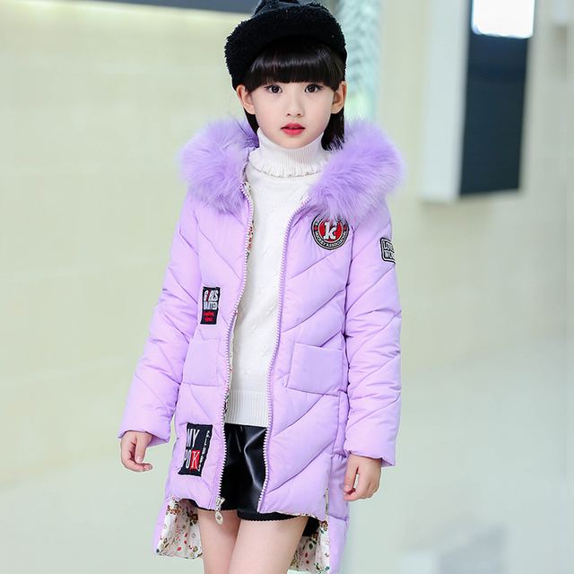 2016 new girls down jacket for girl coat large fur hooded collar long children outerwear parka coats overcoat free shipping