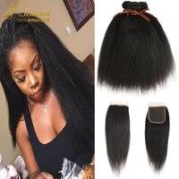 Brazilian Hair Weave Yaki Straight Hair Bundles With Closure 3 4 Bundles With Closure Lace Closure With Bundle Joedir Hair