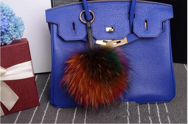 15 cm Fur Bag Charm Pom Pom Key Chain Real Fox Raccoon Fur Ball Keychain Bag Charms Poms Chaveiros Keyrings Llavero Sleutelhang