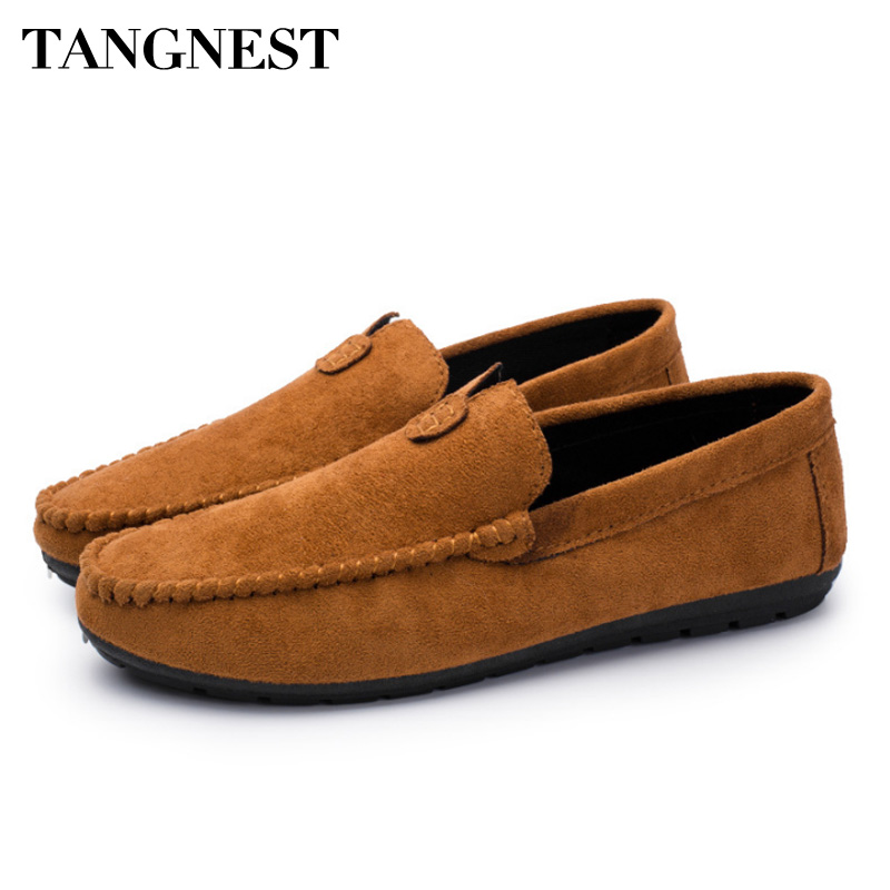 Tangnest Spring Breathable Men Casual Shoes British Style Flock Loafers Fashion Flats Lazy Men Comfort Driving Shoes XMR2849 tangnest men pu leather shoes 2017 british style men lace up casual shoes solid platform flats for male comfort shoes xmr2422