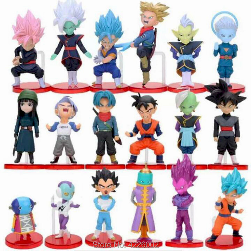 18pcs Dragon Ball Super Saiyan Rose Black Son Goku Blue Vegeta Zeno Hit Jiren Action Figures Jaco Cabba Zamasu Anime Figurines