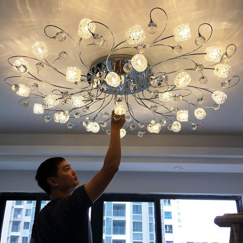 Moderne Simple cristal plafonnier Style européen lampe à LED salon chambre cristal lumières plafond encastré plafonniers