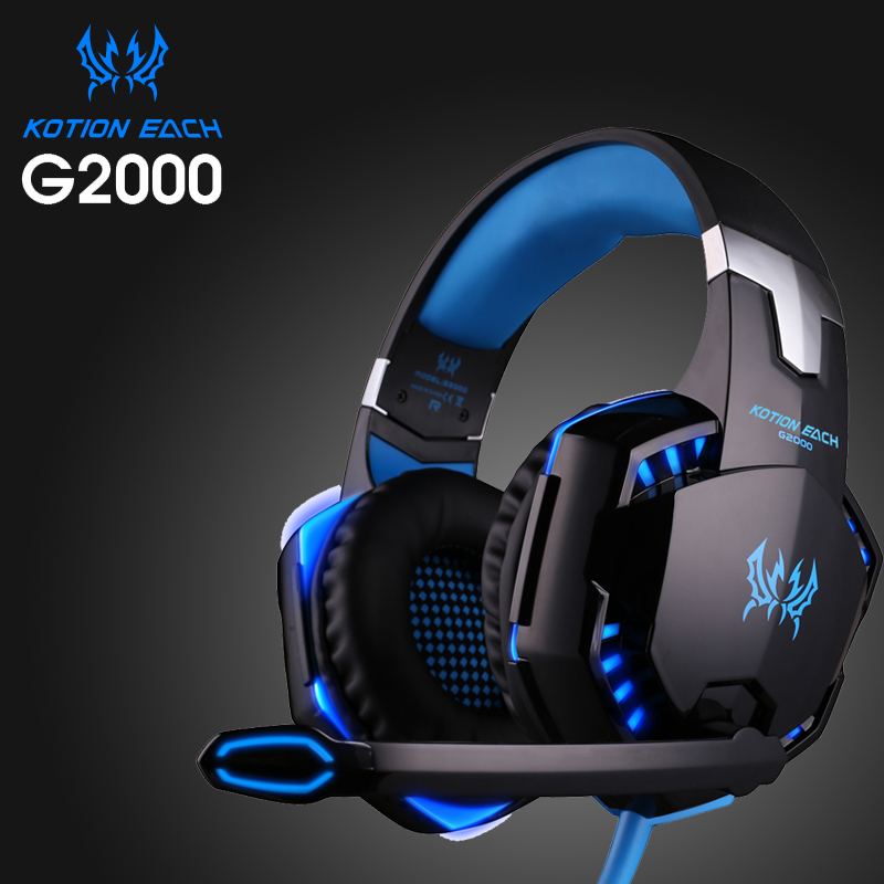 High quality Kotion EACH G2000 Deep Bass Gaming Headset Earphone Headband Stereo Headphones with Mic LED Light for PC Gamer gaming headset led light glow noise cancealing pc gamer super bass headband headphones with microphone for computer pc