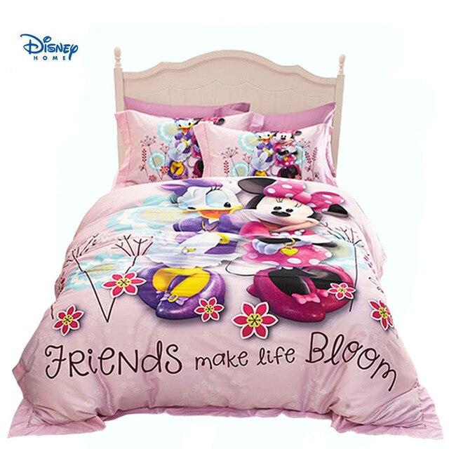 pink disney minnie mouse bed linens 100% cotton 3d girl baby comforter set cartoon beddings 3/4/5 pc children pillow cover sheet