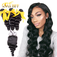 ALI BFF Hair Brazilian Loose Wave Bundles With Closure Non Remy 100% Human Hair Extensions 3 Bundles With Closure No Shedding