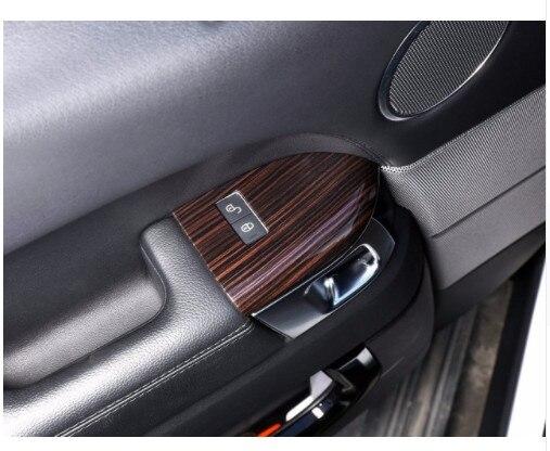 Couverture de cadre de serrure de sécurité en plastique ABS en bois de frêne rouge pour Range Rover Sport 2014-2017 style de voiture 4 pièces/ensemble