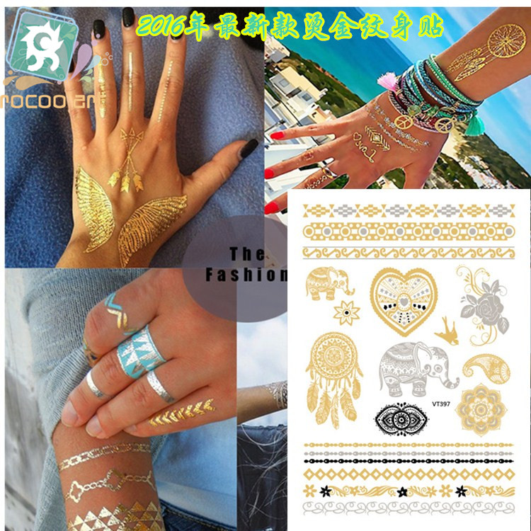 VT397 / Senaste Indien Henna MetallicTattoos Gold Silver Body Tillfällig Flash Mandala Flower Elephant Dreamcatcher Tattoo Designs