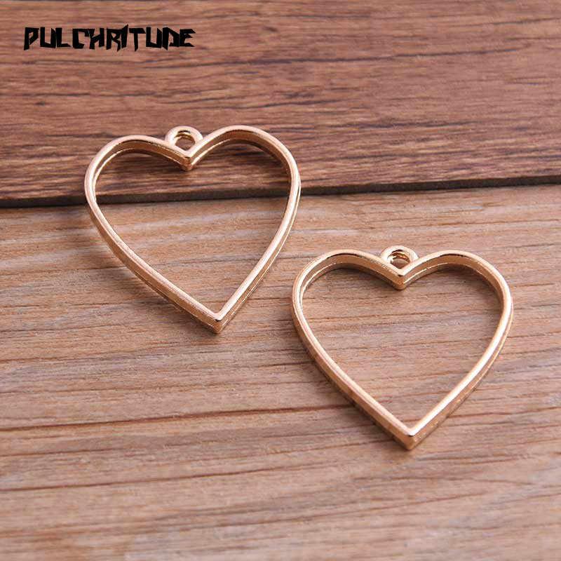 PULCHRITUDE 10 Uds. 20*34mm tres colores aleación accesorios de joyería colgante de corazón hueco pegamento en blanco colgante bandeja bisel 12D51